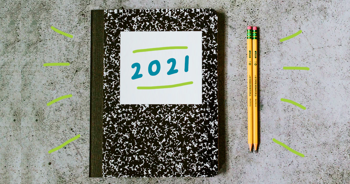 notebook with '2021' on cover