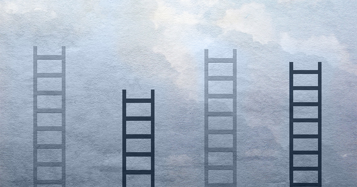 Several ladders on blue background that looks like the sky