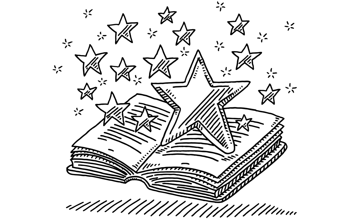 illustration of a open book with stars