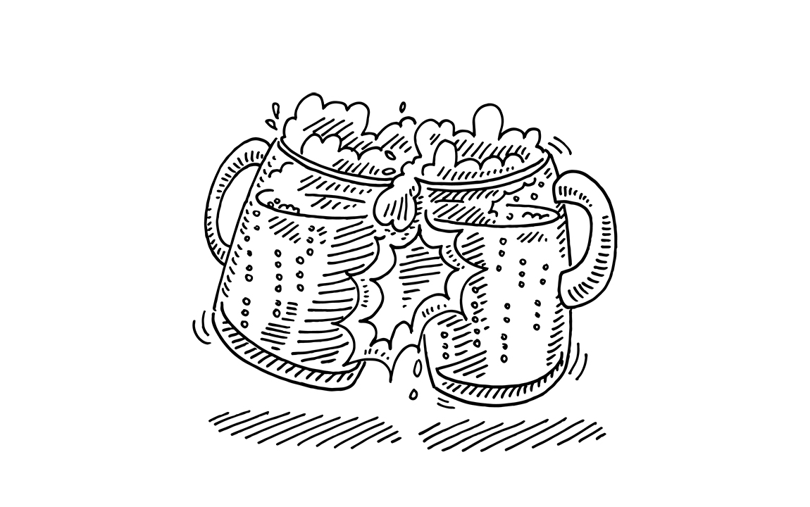 drawing of two mugs of beer in a toast