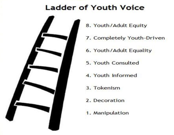"Eight stages of the ""Ladder of Youth Voice"""