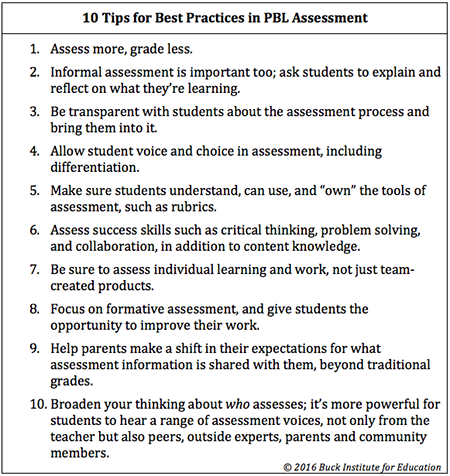 10 tips for the best practices of PBL Assessment