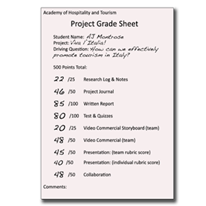 image of a project grade sheet