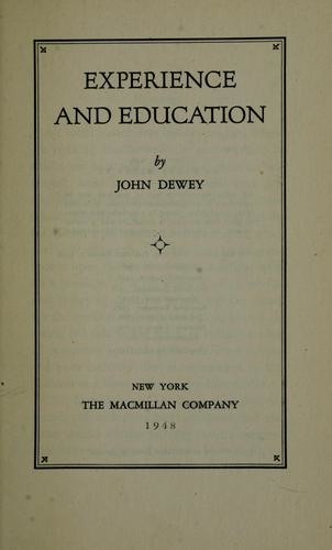 image of John Dewey's work Experience and Education