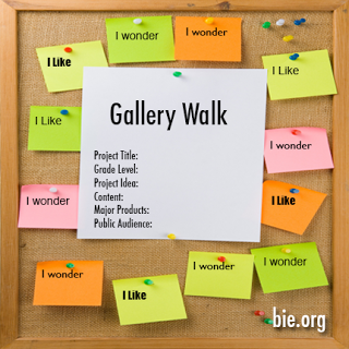 "bulletin board with ""I likes"" and ""I wonders"" around a Gallery Walk (project idea)"