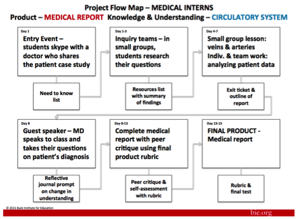 a project flow map for medical interns. The product is Medical Report.  The Knowledge and Understanding is Circulatory System