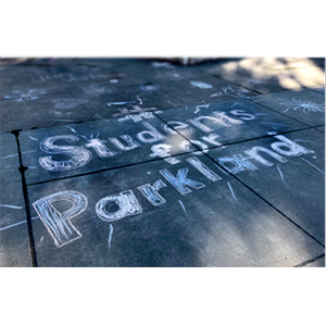Chalk drawing of students supporting Parkland