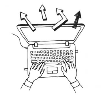 illustration of hands typing on a laptop