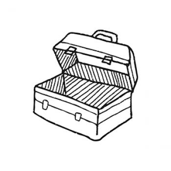 illustration of an open metal toolbox