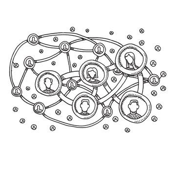 illustrated nodes for much larger network of people