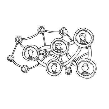 illustrated nodes with a larger network of people