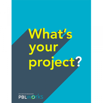 What's your project? on blue background