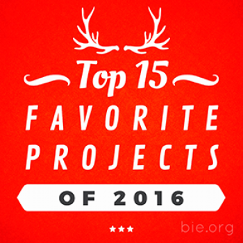 "Red square with the words ""Top 15 Favorite Projects of 2016"" printed on top"