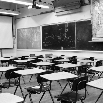 nonPBL classroom in black and white