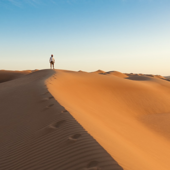 one person standing in the desert