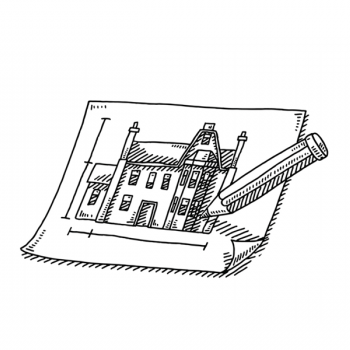 illustration of creating a house blueprint