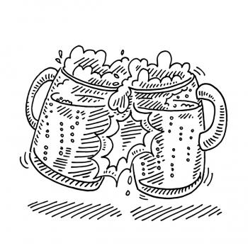 drawing of two craft beers in a toast