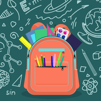illustration of backpack with supplies and doodles of information