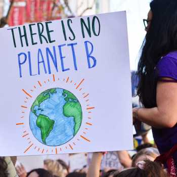 "sign that says ""there is no planet B"" - carried by students in a protest march"