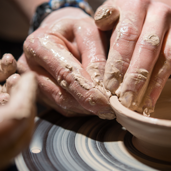 students making clay art
