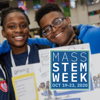 group of students and logo of MASS STEM WEEK 2020