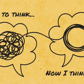 "Two thought bubbles with words ""I used to think"" and ""Now I think"""